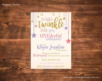 CUSTOM PRINTABLE Invitation: Twinkle Twinkle Little Star Onederful Is What You Are Invitation (Customizable)