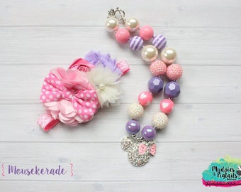 chunky necklace or baby headband set { Mousekerade } pink, purple, pearl, white polka dot valentine headband, 1st Birthday, photography prop