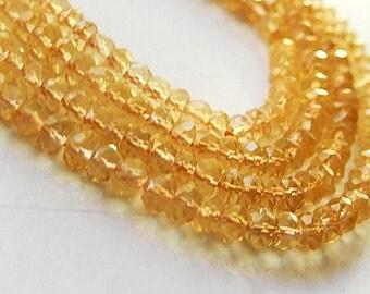 Citrine Gemstone, Faceted Rondelles, Semi Precious Gemstone Bead. 3.5  to 4mm, Strand Your Choice  (acit)