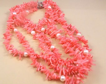 Three Strand, Pink Coral and Pearl Necklace, 9 inches long , clasp, 5mm pearls, Spikes