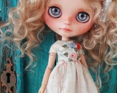 Blythe doll OOAK outfit *Vacances en Provence* embroidered vintage style dress