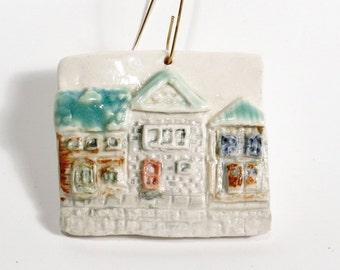Houses Ornament Ceramic Porcelain Handmade