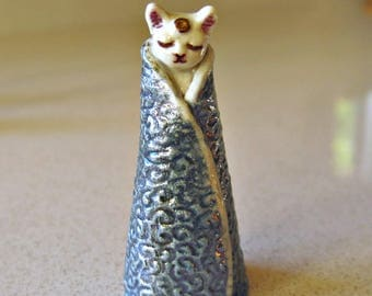 Tiny Cat Figurine in Blue and Gold