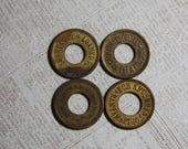 Vintage Amusement Tokens (4) Brass Coin Altered Art Supply- Mixed Media Jewelry Supply- Vendor Coin- C13