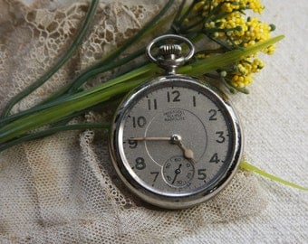Vintage Ingersoll Eclipse Radiolite Pocket Watch for Found Object Jewelry or Art