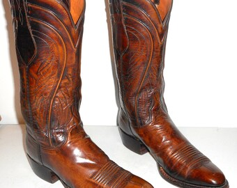 Mens 10.5 A Lucchese Cowboy Boots Brown Leather Narrow Western Country Rodeo
