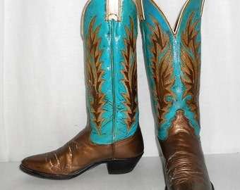 Womens 6 B Altered Cowboy Boots Turquoise Blue Gold Indie Cowgirl Urban Boho