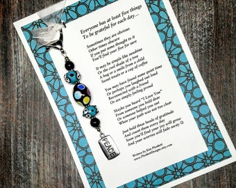Original Poem & Gratitude Beads - Multi-Colored Lampwork Glass - Peace Charm