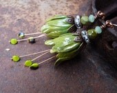Irish Moss tulip earrings - brass and crystal spring green ombre earrings