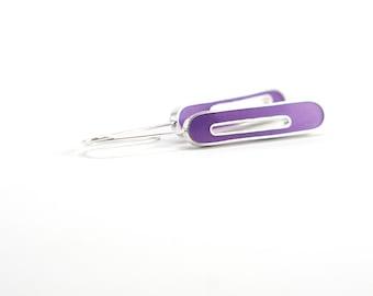 Love Struck Earrings in purple sterling silver resin oval mod gift