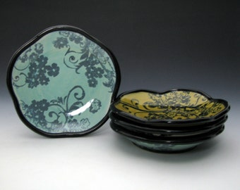 Turquoise and Black Sandwich Plate with Flower and Spiral Pattern
