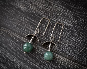 Earrings Hammered Sterling Silver and Polished Green Jade Beads
