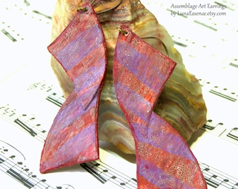 Assemblage Art Earrings Long Earrings Bohemian Jewelry Gifts for Women
