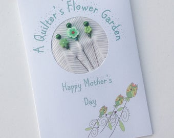 Mother's Day Card - Gift for Quilter - Greeting Card - For Mom - Decorative Sewing Pins - Flower Pins - Quilting Pins - Pincushion Pizazz