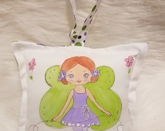 Tooth Fairy Pillow - Girl Fairy with red hair - Hand Painted -  Personalized Name FREE