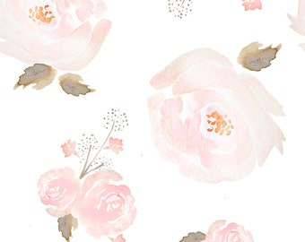 Pink Watercolor Floral Fabric - Indy Bloom Blush Rose B By Indybloomdesign - Girl Nursery Decor Cotton Fabric By The Yard With Spoonflower