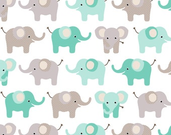 Elephant Fabric - Happy Elephants By Heleenvanbuul - Baby Nursery Modern Elephant Cotton Fabric By The Yard With Spoonflower