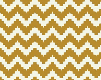 Orange Yellow Southwestern Tribal Chevron Fabric - Chevron Mustard By Ravynka - Chevron Cotton Fabric By The Yard With Spoonflower
