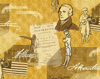 Alexander Hamilton Fabric - Alexander Hamilton Bio On Gold By Landpenguin - Historical Figures Cotton Fabric By The Yard With Spoonflower