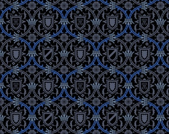 Blue Medieval Renaissance Fabric - Royal Serpentine 880h By Muhlenkott - Renaissance Cotton Fabric By The Yard With Spoonflower