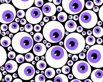 Purple Eye Fabric - Eyeballs Purple By Petitspixels - Purple Eyeball Novelty Spoooky Cotton Fabric By The Yard With Spoonflower