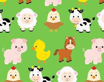 Farm Animals Fabric - Farm Animals By Sunshineandspoons - Baby Farm Animals Nursery Decor Cotton Fabric By The Yard With Spoonflower