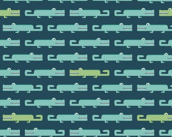 Crocodile Nursery Decor Fabric - Crocodiles By La Fabriken - Summer Crocodile Nursery Decor Cotton Fabric By The Yard With Spoonflower