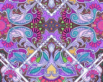 Psychedelic Fabric - In The Year Of Flower Power By Edsel2084 - Art Nouveau Pink Purple Abstract Cotton Fabric By The Yard With Spoonflower