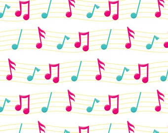 Music Notes Fabric - Girl Music Fun 01 By Prettygrafik - Sheet Music Notes Pink Blue Yellow Cotton Fabric By The Yard With Spoonflower