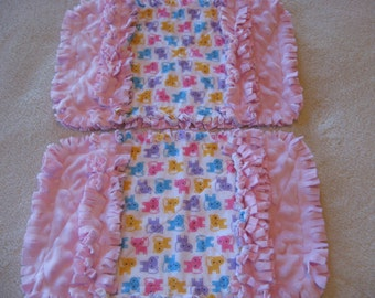 Kitty Cats  Baby Shower Gift Spit Rag Pink Baby Girl Burp Cloths with Minky backing