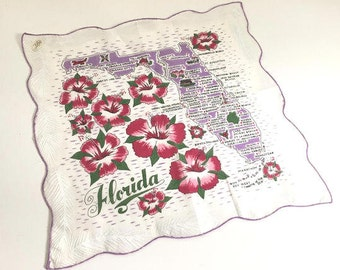 Vintage Florida handkerchief hankie purple with hibiscus flowers mint with original tag souvenir map