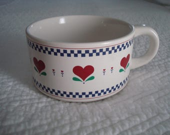 1980s Large Heart Soup Mug, Candles, Candlemaking, Supplies, Scented Candle, Candle, Candel, Red, White, Blue, Large Mug