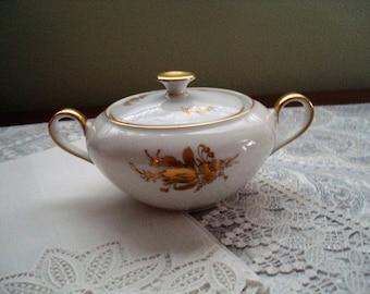 Heinrich Selb Bavaria Jenny Lind Sugar Bowl and Lid, Lidded Sugar Bowl, Gold and White, 1930s, Gilt, Gilding, Floral Design, Minimalist