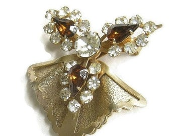 Vintage 1940s Retro Brooch Amber and Clear Rhinestone Layered