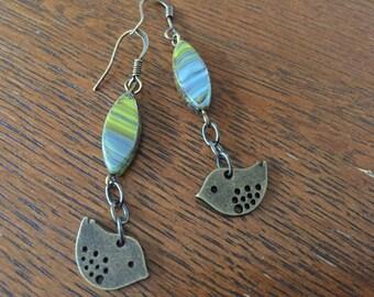 Brass Bird & Czech Glass Earrings Ocean Blue and Avocado Green