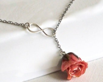 Pink Rosebud Infinity Lariat Necklace - Real Rose Necklace, Real Flower Jewelry, Infinity Necklace, Sterling Silver Necklace