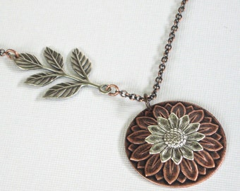 Sunflower Necklace - Mixed Metal Necklace, Flower Jewelry, Garden Necklace,  Copper Necklace