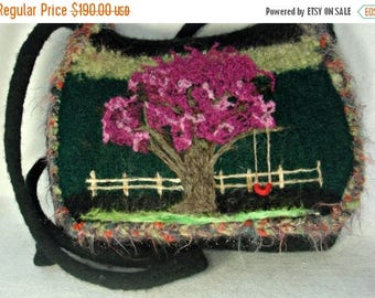 MY BIRTHDAY SALE Felted Purse, Felted Messenger Bag, Blooming Tree, Flower Art,hand knit purse, wool purse