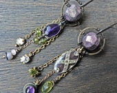 "Art earrings with recycled vintage elements in purple and lime- ""Gimcrack"""