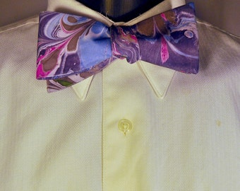 Vibrant Red Pink Marbled Man's Bow Tie for Wedding Days Made in Asheville, NC  MM-15-31