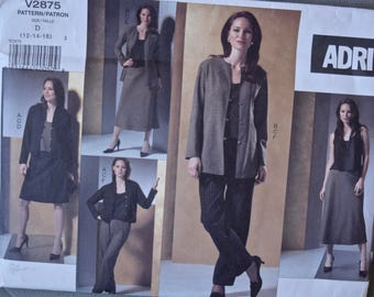 ADRI Vogue 2875 Sewing Pattern Misses'Loose Fitting Jackets Top Bias Skirts and Pants UNCUT Factory Folds Sizes 12-14-16