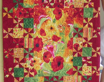 "Red Poppies Quilt - 77"" x 58"""