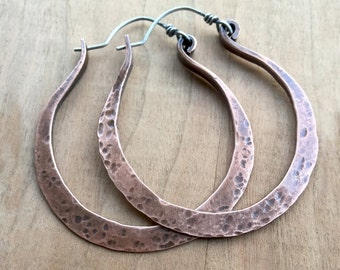 Large Hoop Earrings - Big Boho Earrings - Extra Large Hoops - Copper Hoops - Boho Rustic Jewelry - Copper Jewelry - Everyday Hoops