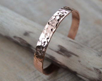 Copper Bangle, Wide Hand Hammered Texture, Copper Bracelet
