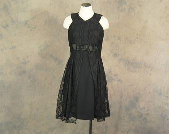vintage 60s Party Dress - 1960s Black Lace Dress - Formal Dress Sz M