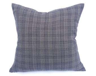 Purple Grey Pillow, Purple Plaid Pillow Covers, Grey Plaid Pillow, Purple Sofa Cushion Cover, Masculine Pillows, Mens Home Decor 18x18