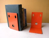 Orange Industrial Metal Bookends Office Organizers Table Book Stops Minimalist Desk Book Holder Shelf Accessory Reading Room Bookworm Gift