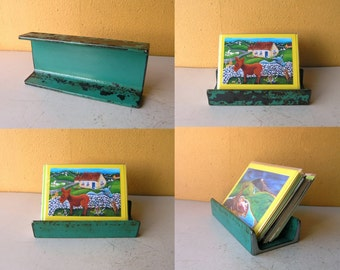 Metal Card Holder Kelly Green Letter Tray Tablet Stand, Desk Accessory Upcycled Channel Beam coworker gift industrial decor Office Organizer