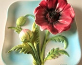 Red Garnet Poppy Flower Wall Plaque 3-D Napco Ceramic Square 1960s Japan Wall Pocket
