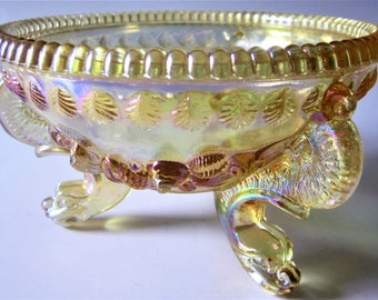 Westmoreland Iridescent Amber Honey Glass Argonaut Candy 3 Footed Dish Bowl Vintage Opalescent Dolphin Serpent Shell Nautical Collectible